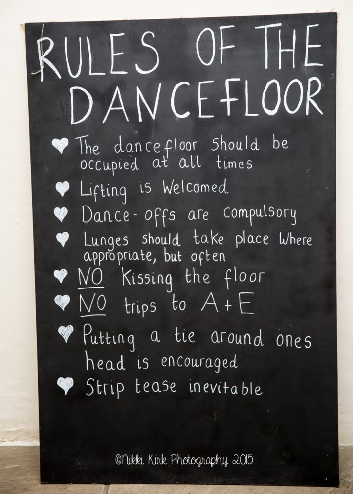 Rules Of The Dance Floor Wedding Sign Brympton House Wedding