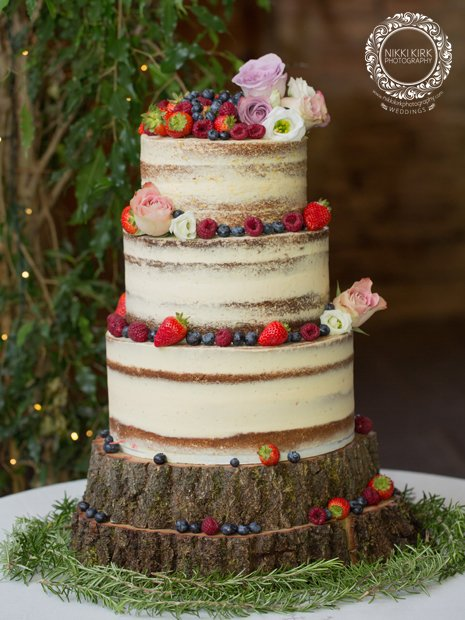Naked wedding cake at Cripps Barn