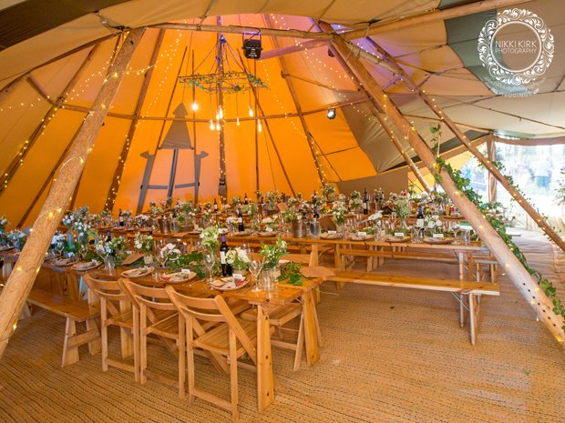 Inside a wedding tipi by Samitipi