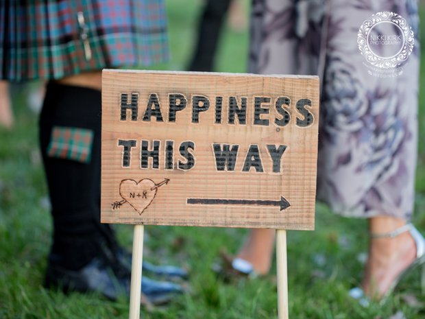 Happiness wedding sign