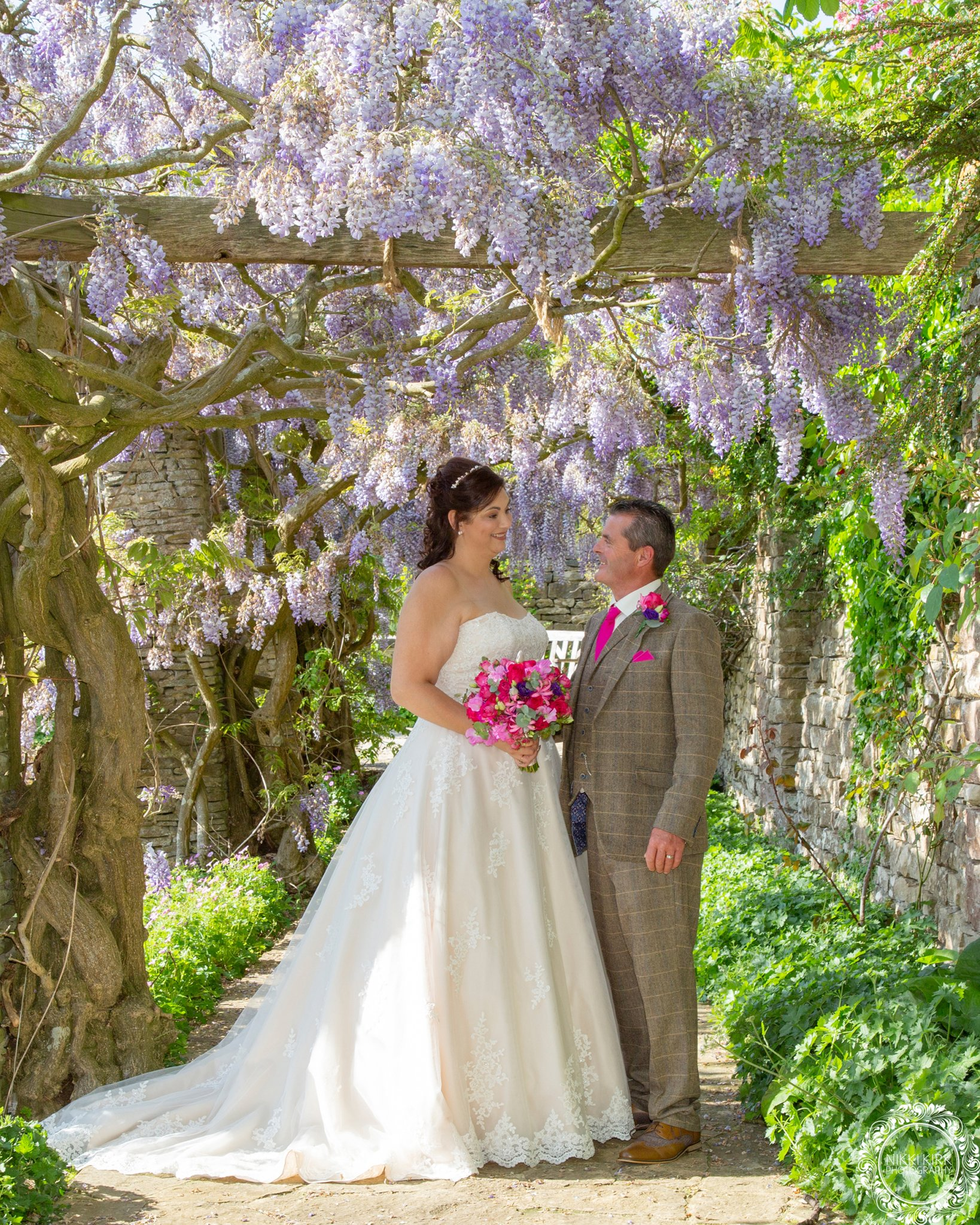 Glenfall House Wedding Photographer wisteria walk